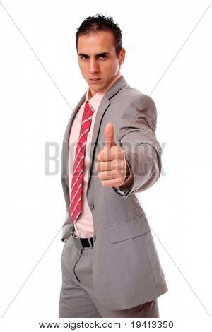 Handsome businessman thumb's up sign - Isolated over white background