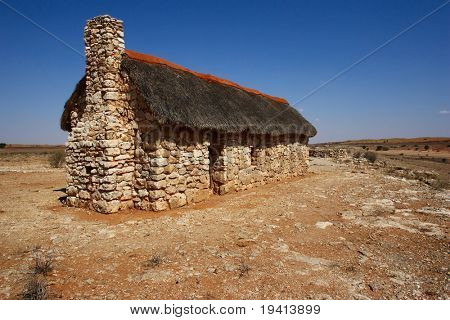 Old country style house; built from stone; Kalahari desert