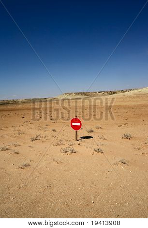 No-entry sign in the desert