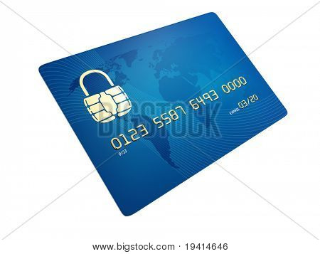 Credit card with contact points in shape of a lock - concept of secure transactions
