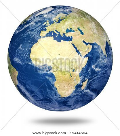 Planet Earth On White - Africa And European View (3d Source Maps- Http://visibleearth.nasa.gov/)