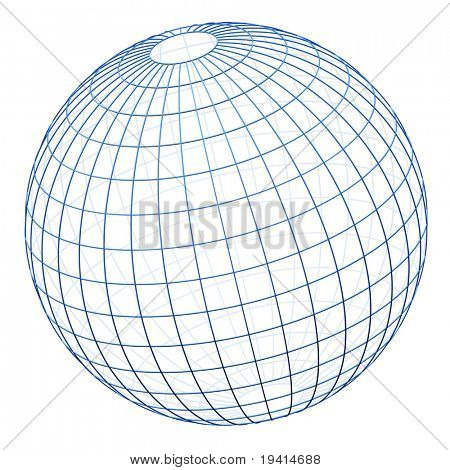Spherical wireframe cage isolated (modelled with square bevelled wire)