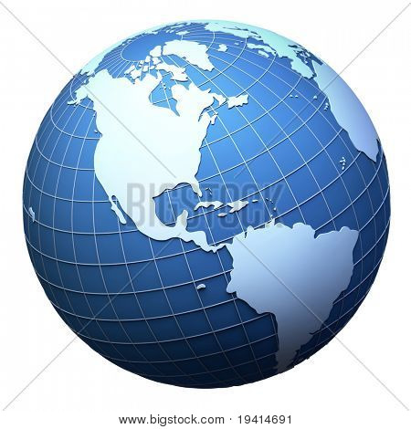 Planet Earth Model Isolated On White - America View (3d Mesh Derived From Http://visibleearth.nasa.g