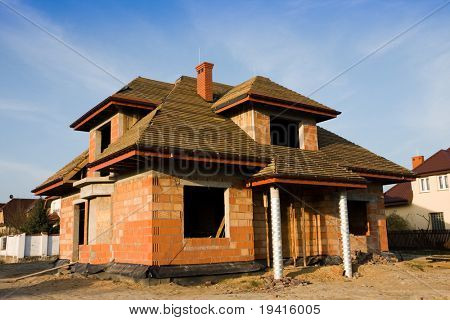 Unfinished house, still under construction