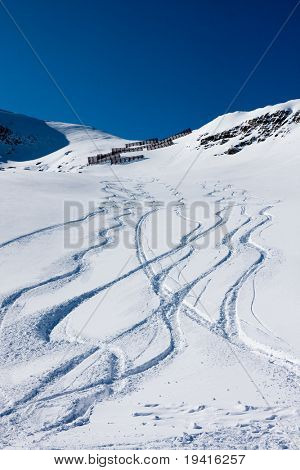 Ski trails on a mountain, off-piste
