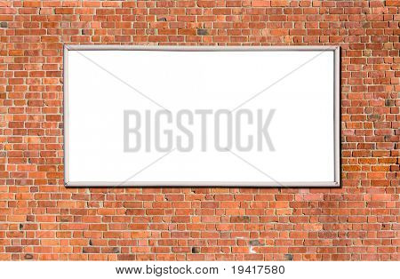 Blank billboard on brick wall for your advertisement