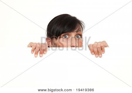 Inquisitive woman looking from blank copy-space card