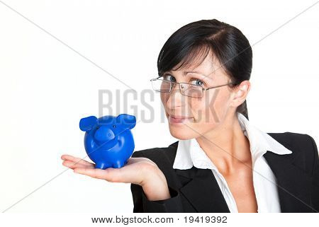 Banker holding piggy-bank for savings