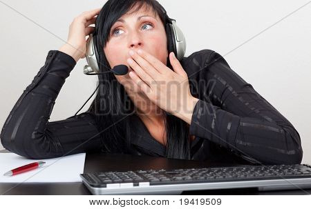 Call center agent being tired of work