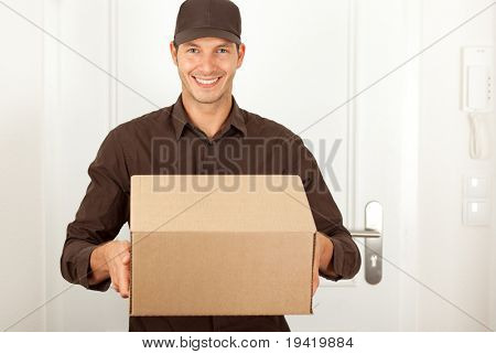 Handsome masculine postman in brown formal clothes shipping deliver a cardbox cartoon