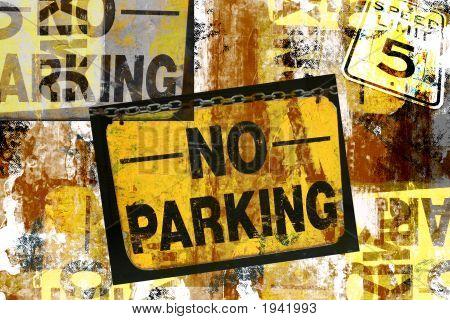 No Parking Grunge Signs