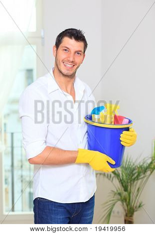 Room cleaning male making the houshold at home as household housekeeping husband