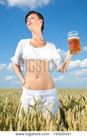 oktoberfest Celebrating waitress with beer outdoor