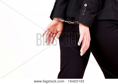 Escaping handcuffed bank businesspeople because of bad management