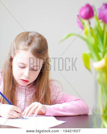 Learning child doing homework for school