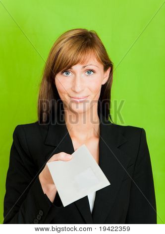 Business person with letter and green background