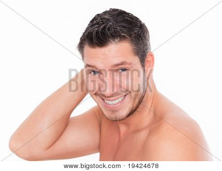 Male beauty smiling and laughing