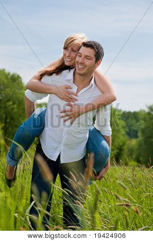 Outdoor couple walking after bicycle tour