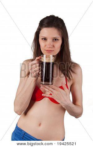 Mug Of Kvass In Her Hand