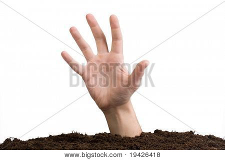 help asking hand emerging from earth