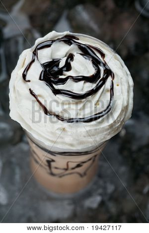 ice latte top view