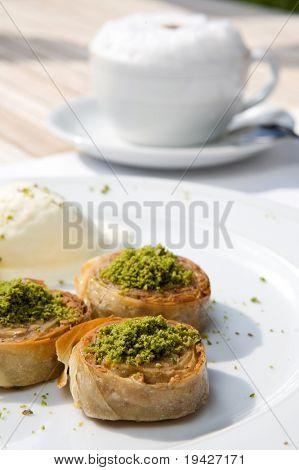 pastry dessert and cappucino