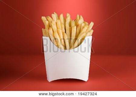french fries in a white box on a red background