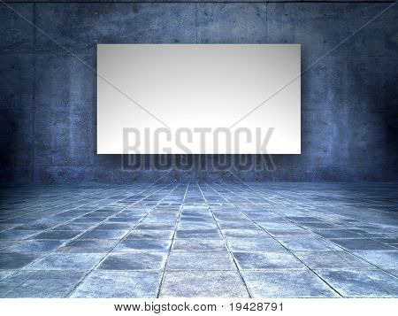 grungy room with blank white screen board