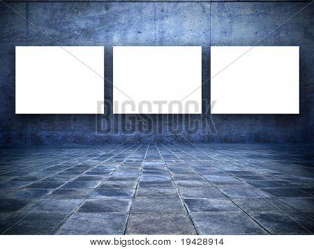 Grunge blue Room. mit drei leeren weißen Bildschirm-board