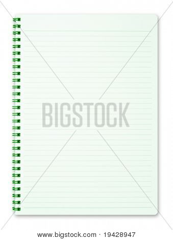 Blank notebook with green paper and spiral coil, isolated on pure white.