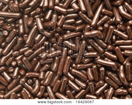 high magnification chocolate sprinkles.