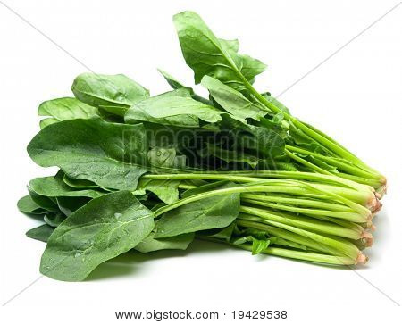 Spinach isolated on white with natural shadows