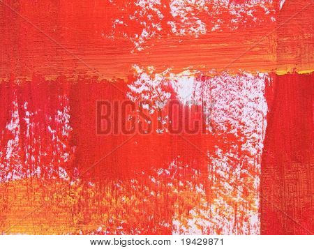 red and orange brush strokes, high magnification