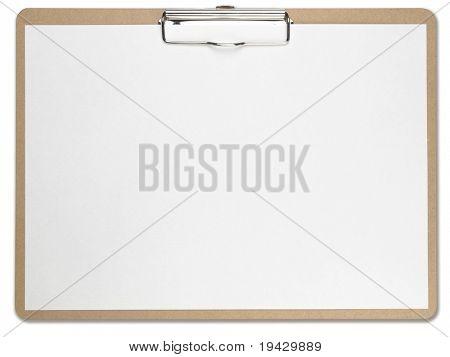 Horizontale Zwischenablage leer Whitepaper. Isoliert auf reinweiß