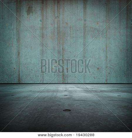Blue concrete room
