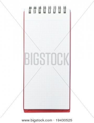 Bloc de notas en blanco con cubierta roja