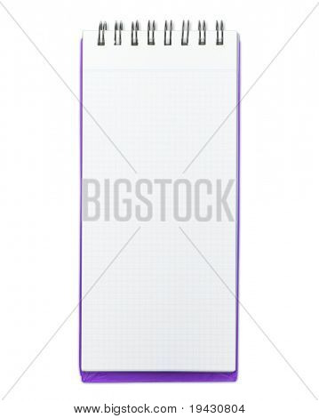 Blank memo pad with purple cover