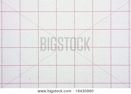 High magnification graph grid scale paper with red lines.