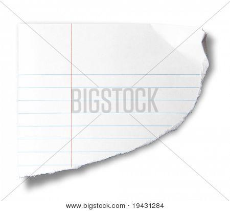 Pedaço rasgado de papel de caderno, isolado no branco.