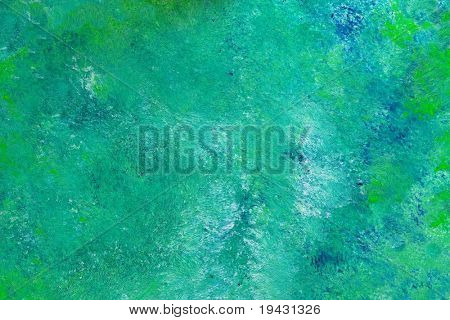 Blue green oil painting texture. High magnification.
