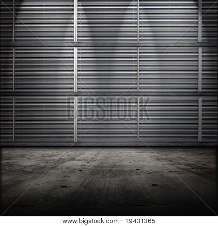 Classified room. Facility or Base type of grungy interior, with vented metal walls and concrete floor.