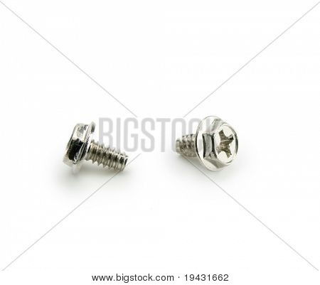 Two screws isolated on white