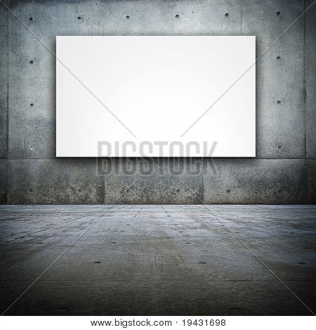 Grungy Bare concrete room with white screen board