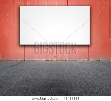 Billboard or white board on red wall