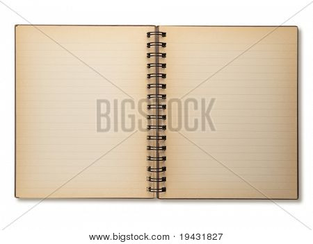 Actual photo of an old note book opened, isolated on white.