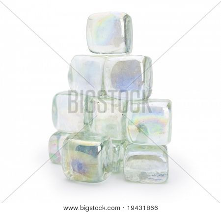 Stacked glass cubes isolated on white