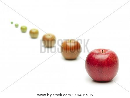 Transition. Green apple turning red, concept image for transition etc.