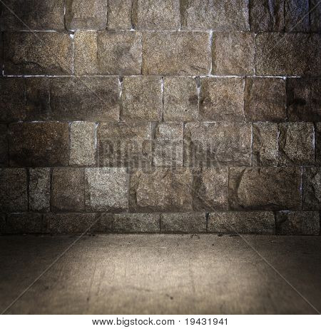 Grungy stone wall and floor