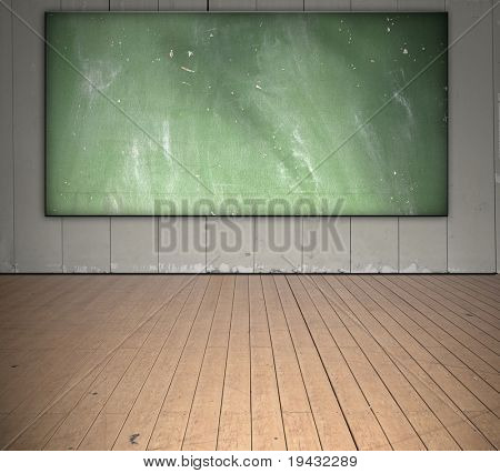 Class room with grungy blackboard.