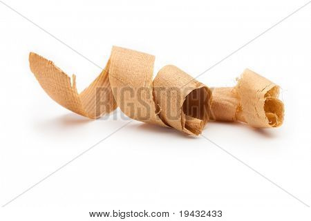 Curled wooden shavings isolated on white.